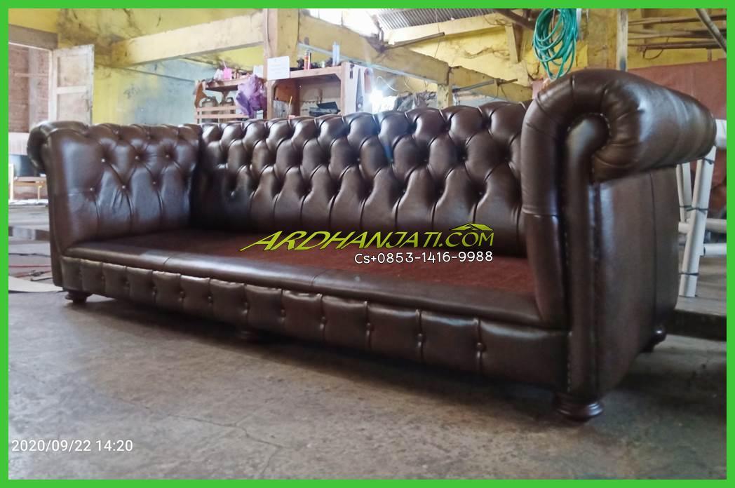 Sofa Tamu Minimalis Chesterfield Mewah Kulit Asli