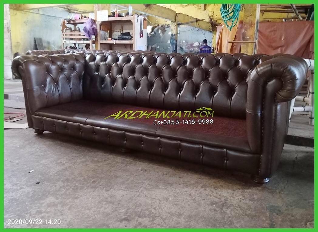 Leather Sofa Chesterfield & Sofa Tamu Kulit Asli