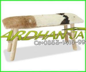 Bench Leather Goat Hair Armchair Teak Wood