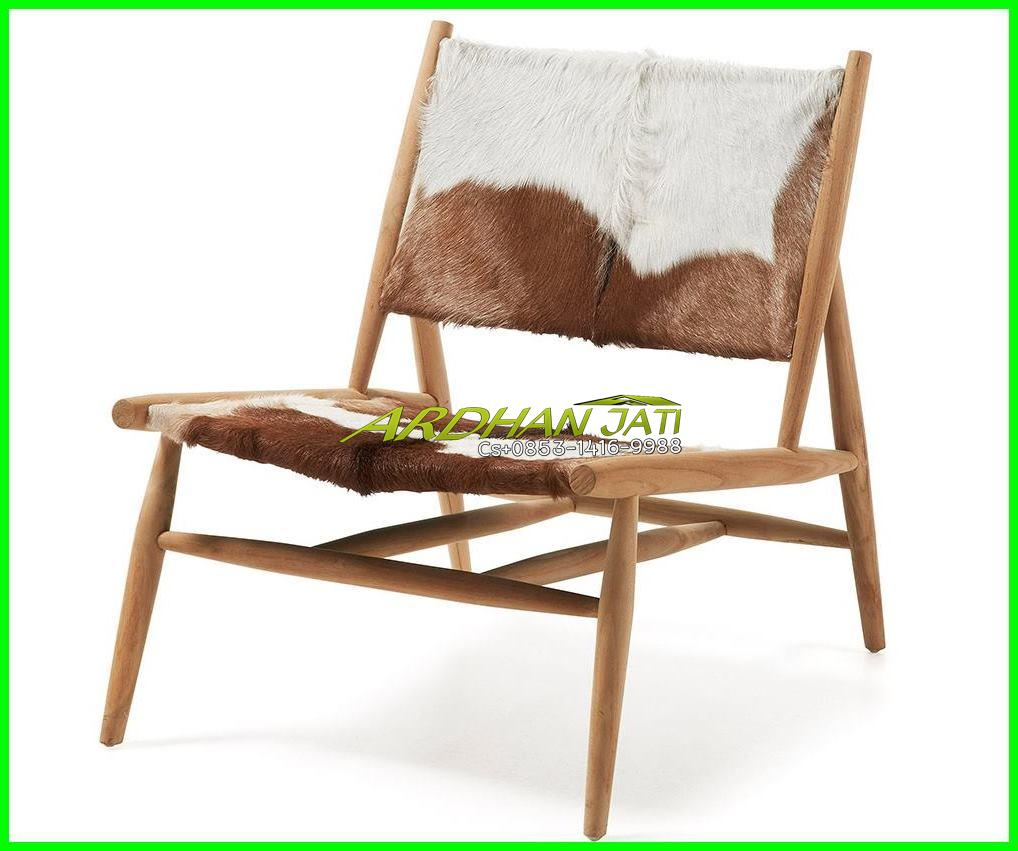 Leather Goat Hair Armchair Teak Wood