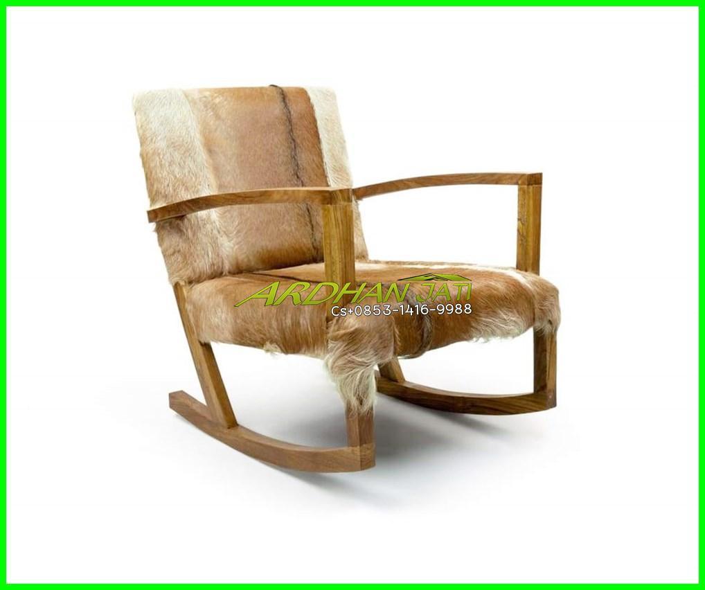 Leather Goat Hair Armchair Teak Wood