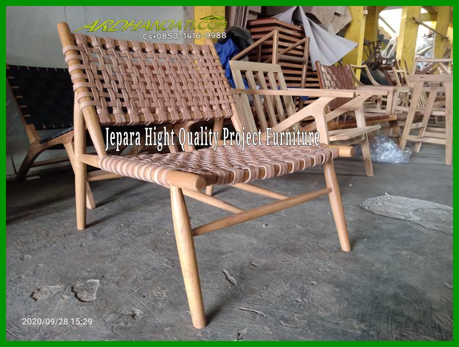 Leather Woven Teak Chair